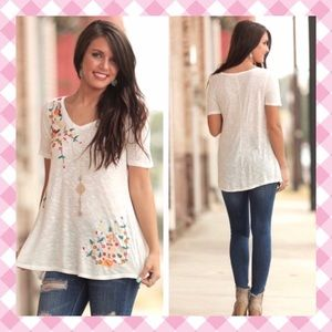 Floral Embroidered V Neck Tunic